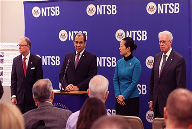 "NTSB Chairman Christopher Hart (second from left) discusses the agency's ""most wanted"" list at a press conference in Washington, D.C., on Jan. 13."