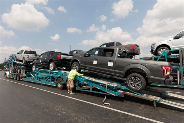 Photo of replacement rental vehicles being transported to the Houston area courtesy of Enterprise Holdings.