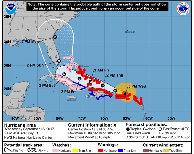 Hurricane Irma's likely path will take it along Florida's southern tip. Graphic: National Hurricane Center