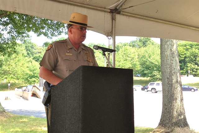 Captain Norman Dofflemyer, commander of the Maryland State Police Commercial Vehicle Enforcement Division, speaking at the Maryland Drivewyze demonstration. (Photo: Oliver Patton)