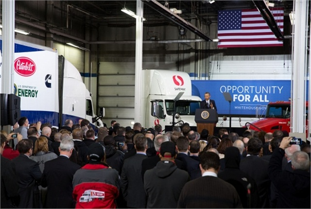 President Barack Obama delivers remarks on improving the fuel efficiency of American trucks, at the Safeway Distribution Center in Upper Marlboro, Md., Feb. 18, 2014. (Official White House photo by Amanda Lucidon)