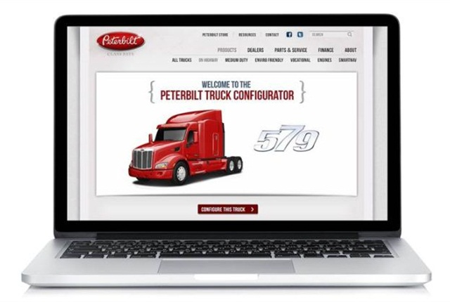 Peterbilt's online configurator allows customers to see what model they create. Photo via Peterbilt