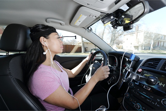 Drivers participated in a test aimed at gauging mental distractions presented by new hands-free technologies. Photo courtesy of AAA.