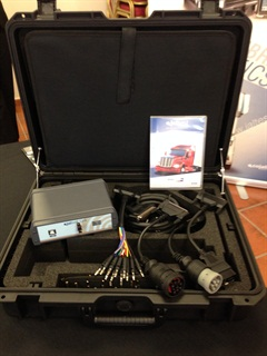 Jaltest diagnostic scanner comes in a kit that includes connector cables and an interface box. It runs on an optional Windows-based tablet or a customer's own tablet or laptop PC.