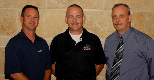 "2013-2014 CVSA officers: Capt. Jay Thompsonof the Arkansas Highway Police is CVSA secretary (on left); Capt. William ""Bill"" Reese of the Idaho State Police (center) is CVSA vice president; and Sgt.Tom Fuller of the New York State Police is CVSA president."