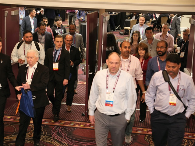 International Car Rental Show attendees enter the Gold Ballroom for Monday's keynote address. Photo: Steve Reed.