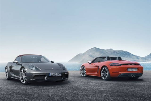 Photo of 718 Boxster (left) and 718 Boxster S courtesy of Porsche.
