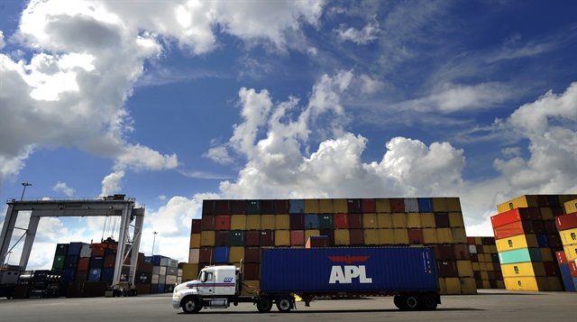 A truck moves past containers at the Port of Savannah. Photo: GPA/Stephen B. Morton