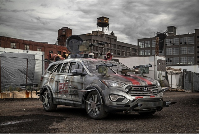"Hyundai asked fans of the ""Walking Dead"" television series to design the ultimate zombie survival machine. The winning entry was based on the Hyundai Santa Fe Sport."