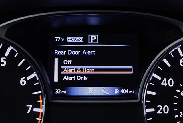 <p><em>Rear Door Alert can help remind drivers of anything, or anyone, they might have forgotten in the rear seat. Photo courtesy of Nissan.</em></p>