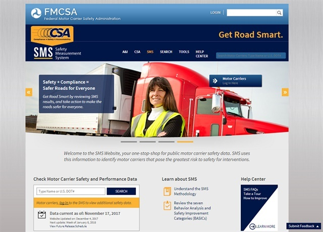 <p><strong>Screenshot of the FMCSA's Safety Measurement System website.</strong></p>
