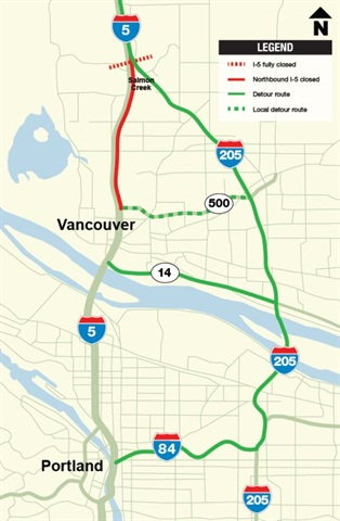 Section of I-5, north of Vancouver, Wash. set to be closed this weekend. (Illustration: Wash. DOT)