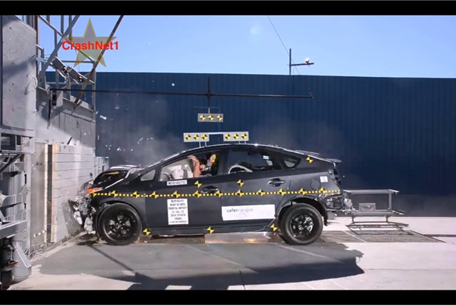NHTSA crash testing of a 2014 Toyota Prius.