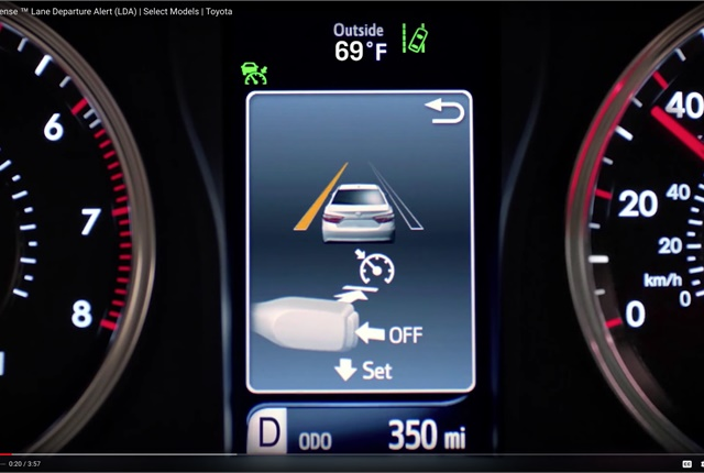 Screen shot illustrating Toyota's Safety Sense Lane Departure Alert system controls. Image courtesy of Toyota.