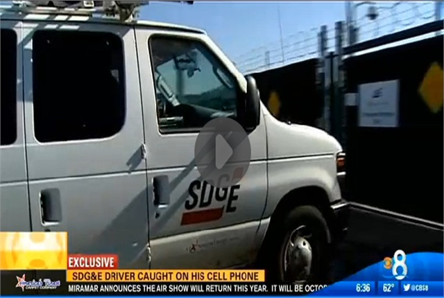 """<p><a href=""""http://www.cbs8.com/story/24559932/sdge-worker-caught-driving-while-using-cell-phone"""">Video from CBS8.</a></p>"""