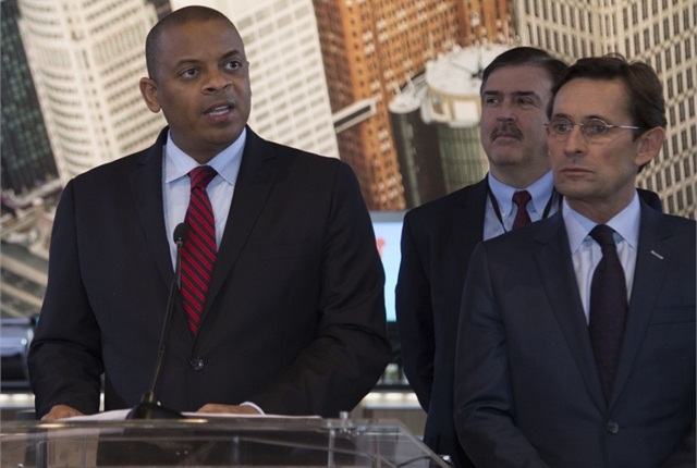 U.S. Transportation Secretary Anthony Foxx (left) at the North American International Auto Show in Detroit. Photo courtesy of U.S. DOT.