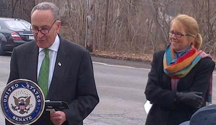 Sen. Charles Schumer and FMCSA Administrator Ann Ferro stand at the Eagle Avenue overpass in New York, which spans the Southern State Parkway at exit 18. The overpass has been struck at least 27 times by trucks that are prohibited from driving on the parkway.