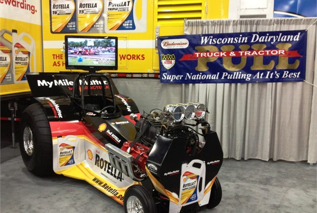 At Shell's Mid-America Trucking Show booth, on display was the Koester Racing puller driven by Larry Koester, who competes in the National Tractor Pullers Association.