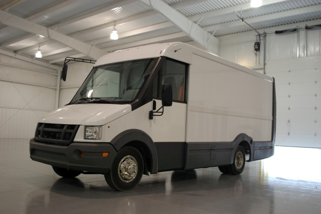 The vans are available in lengths of 12 feet or 14 feet, the Reach provides 540 or 630 cubic feet of storage and up to 27 inches more headroom than a conventional cargo van. (Photo courtesy of Utilimaster)