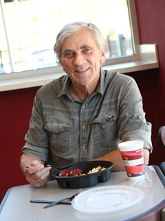 Professional driver Ken Szorosy sits down to enjoy a home-style platter with hearty meatloaf and a hot cup of coffee at the newly opened Pilot Travel Center in St. Marys, Ga., on March 21.