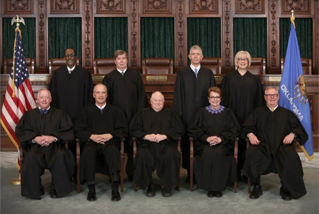 Photo of the Oklahoma Supreme Court justices courtesy of the Oklahoma Supreme Court.