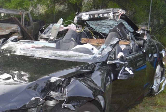 During the fatal crash, the roof of the Tesla Model S was sheared off. Photo courtesy of NTSB.