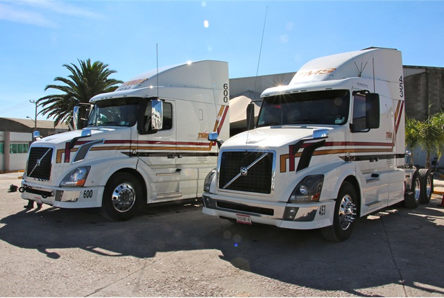 Two of the new Volvo VNL trucks with the I-Shift transmission at Transportes Monroy Schiavon. Photo: Evan Lockridge