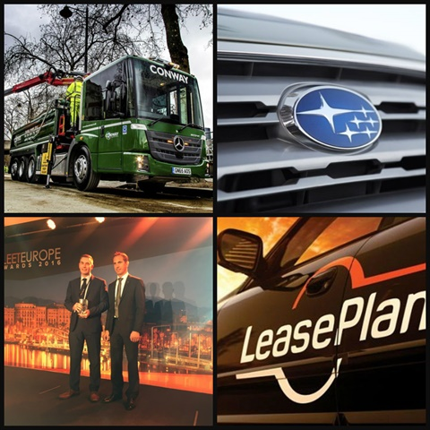 Clockwise from top left: UK's FM Conway Limited added Mercedes-Benz Econic Tippers, Fuji Heavy Industries changed its name to Subaru, LeasePlan received regulatory clearance to sell to an investor group, and Andy Leeden of AstraZeneca was named International Fleet Manager of the Year. Photos: Mercedes-Benz, Subaru, LeasePlan, and Mike Antich