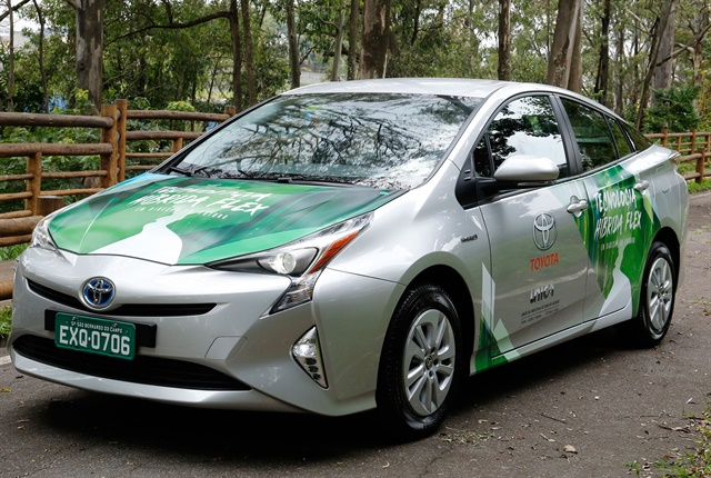 Toyota's hybrid flexible-fuel vehicle prototype uses the Toyota Prius as a base model. Photo courtesy of Toyota.
