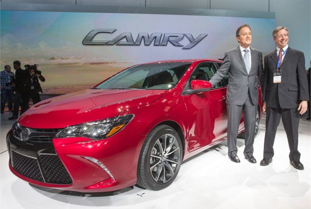Toyota's Vice President and General Manager Bill Fay and Camry Chief Engineer Monte Kaehr with the 2015 Camry. Photo by Joe Polimeni.