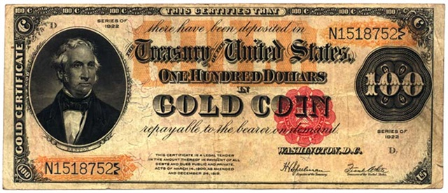 Forbes predicted a return to the gold standard. Gold certificates like this one from 1922 were used as paper currency in the U.S. from 1882 to 1933.