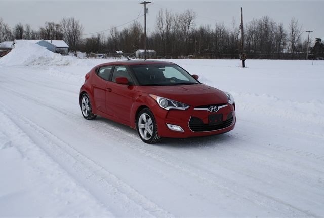 Photo of 2014 Hyundai Veloster, just before it underwent front crash testing, courtesy of NHTSA.