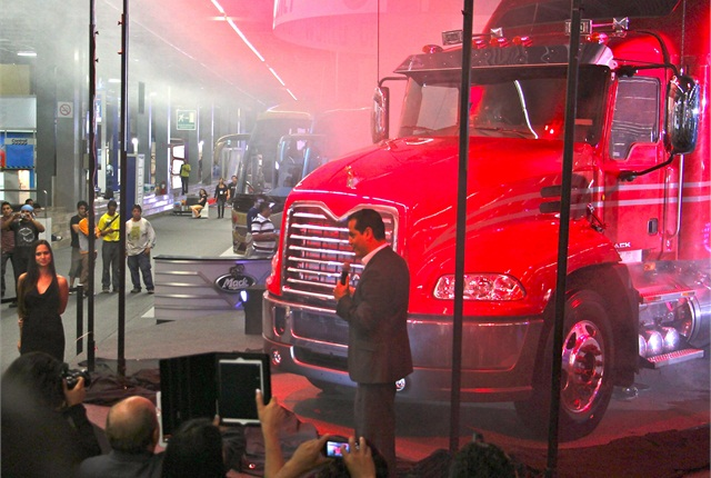Mack unveils its Vision model for the Mexican market at Expo Transporte on Tuesday. Photo: Evan Lockridge