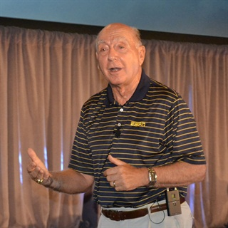 Famed ESPN sportscaster Dick Vitale closed out the 2014 PeopleNet User Conference opening session. Photo: Stephane Babcock