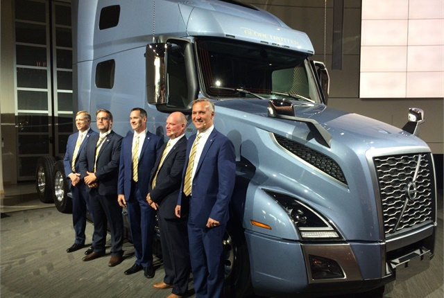 Volvo Trucks North America executives pose with a VNL tractor at the truck's launch earlier this year. Photo: Jack Roberts