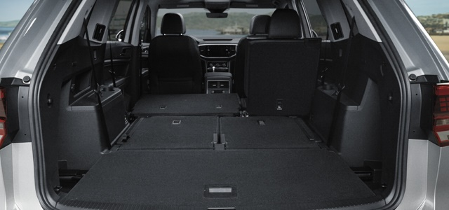 The Volkswagen Atlas features and impressive 96.8 cubic feet of cargo space when the second and third row seats are folded down. Photo: Volkswagen