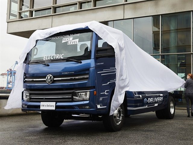 Volkswagen Truck & Bus revealed the e-Delivery truck and announced additional green initiatives at Innovation Day in Hamburg, Germany. Photo courtesy of Volkswagen.