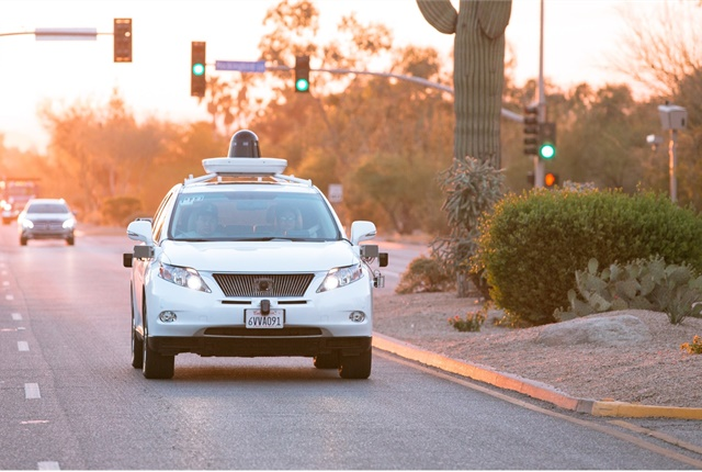 A Waymo (Google) self-driving Lexus RX450h on a California street. Photo courtesy of Waymo.