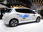 Photo of autonomous LEAF at the 2014 Geneva auto show courtesy of Nissan.