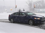 A Ford autonomous vehicle navigates snowy roads during a Michigan winter storm. Photo courtesy of Ford.