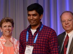 <p><em>(l. to r.) Pam Sederholm, executive director of AALA; Nikith Rajendran; and Mike Antich, editor of Automotive Fleet. Photo by Jim Park.</em></p>