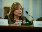<p><strong><em>GM CEO Mary Barra testifies during a Senate subcommittee hearing on Thursday, July 17. Photo by Fred Watkins for General Motors.</em></strong></p>