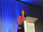 "Deborah Hersman, CEO of the National Safety Council, speaks during the opening keynote titled ""Reaching Zero Crashes: The Role of Advanced Driver Assistance Systems."""