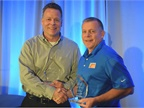 "Ken Marvenko (left), director of safety and driver development, Paper Transport was awarded Heavy Duty Trucking""s 2017 Safety and Compliance award. Joe Rader, vice president of risk services for Fisher Auto Parts, was the recipient of the Fleet Safety Award."
