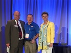 (l. to r.) Mike Antich, editor of Automotive Fleet; Joe Rader (who won the Fleet Safety Award); and Pam Sederholm, executive director of AALA.