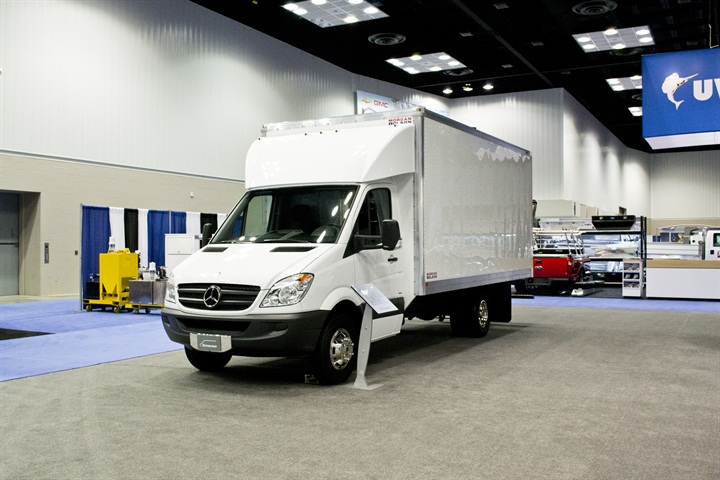 Mercedes benz sprinter box truck 2012 ntea the work for Mercedes benz work vans