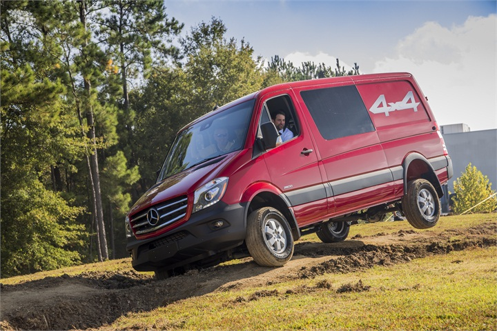 The new sprinter 4x4 is tested on a dirt track at the for Mercedes benz 4wd van
