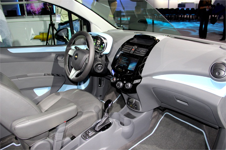 the chevrolet spark ev s cabin features noise reduction and a 2012 l a auto show sedans. Black Bedroom Furniture Sets. Home Design Ideas