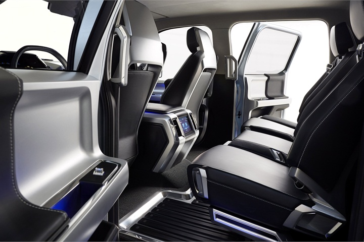 the seat design provides extra legroom and storage for rear seat ford atlas concept pickup. Black Bedroom Furniture Sets. Home Design Ideas