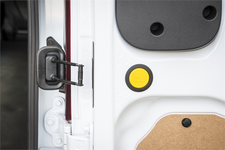 Users press a yellow button to open the rear door from 90 ...